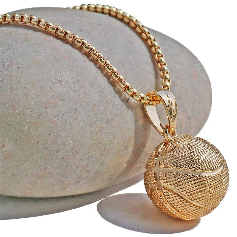 3D Basketball Halsketten Silber Farbe Anhänger Sport Hip Hop Schmuck - Modeschmuck - Foto 6