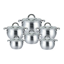 12PCS Stainless Steel Casserole Saucepan Kitchen Cooking Pot Sets Utensil Induction Cooker 7l 18 5l stainless steel deep casserole soup pot with glass lid and induction bottom