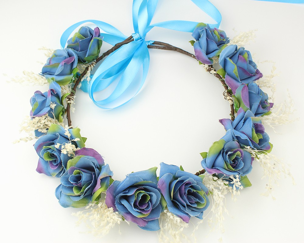 Blue Flower Handmade Bridal Crystal Hair Flower Crown Wedding