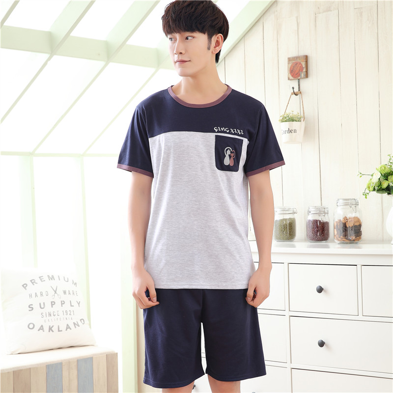 Pants Shorts HDE Pajamas House-Wear Men's Cotton Summer Stripe Solid 6535 Letter Relaxing