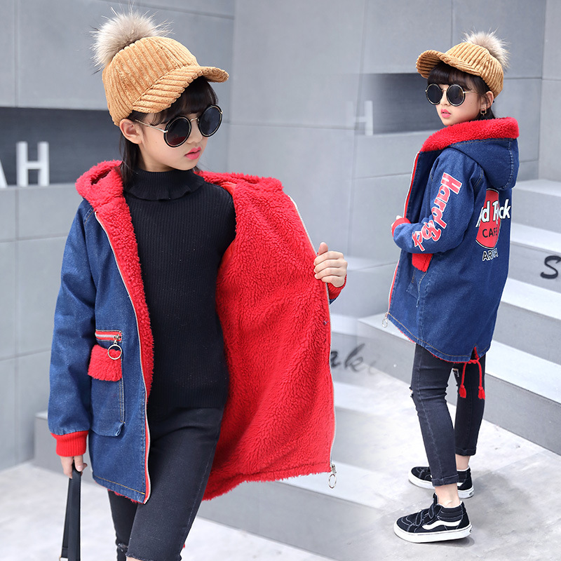 Winter Childrens Denim Jackets for Girls Child Thick Denim Jackets Long Warm Clothing Kids Coats Cotton Hooded Outwear for GirlWinter Childrens Denim Jackets for Girls Child Thick Denim Jackets Long Warm Clothing Kids Coats Cotton Hooded Outwear for Girl