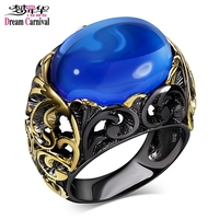 DC1989 New Arrival Jewelry Black Gold Plated Blue Sapphire Acrylic Oval Bead Lead Free Evening Cocktail