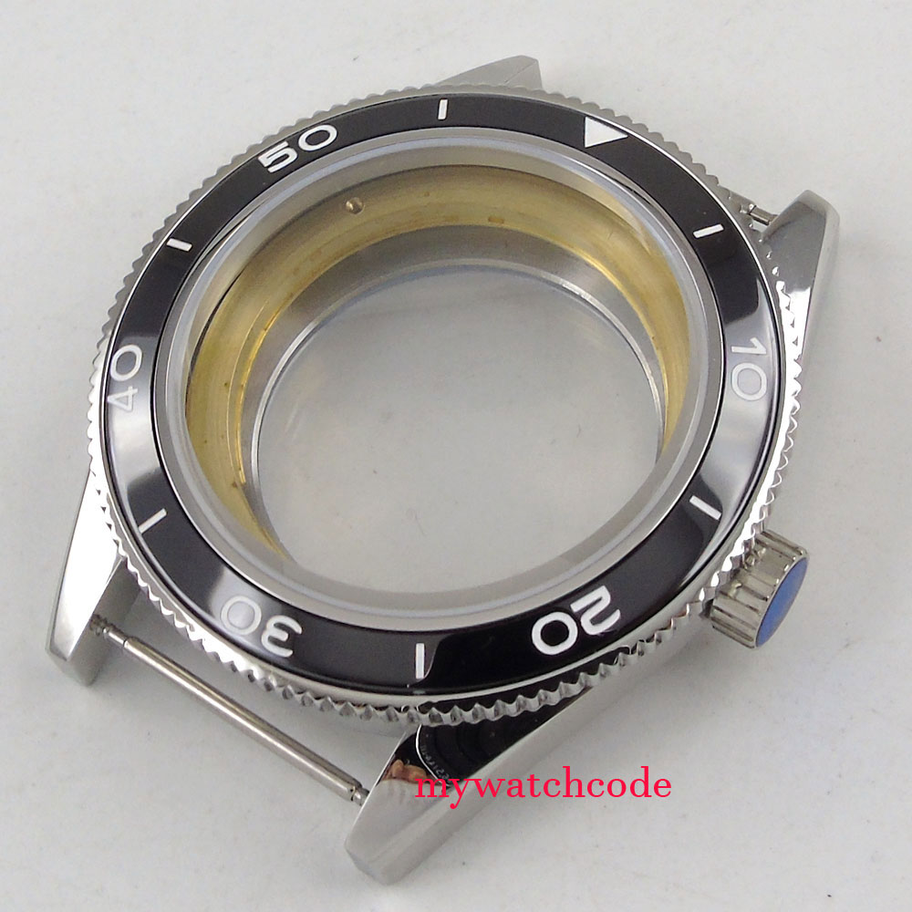 лучшая цена 41mm black ceramic bezel sapphire glass Watch Case fit ETA 2824 2836 MOVEMENT 73