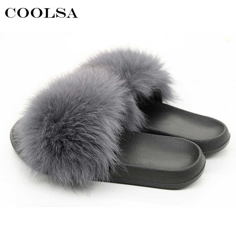 6534e9a67cd5 ... New Summer Fluffy Fur Women Slippers Indoor Flip Flop Real Fox Hair  Slider Flat Soft Slip ...