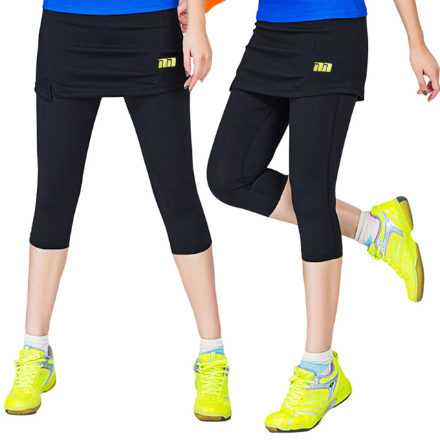 Women Badminton Dress pants One-Piece Suits Running Leggings Outdoor Fitness Tennis Pants Skirts Gym Girl Badminton Tights Skirt