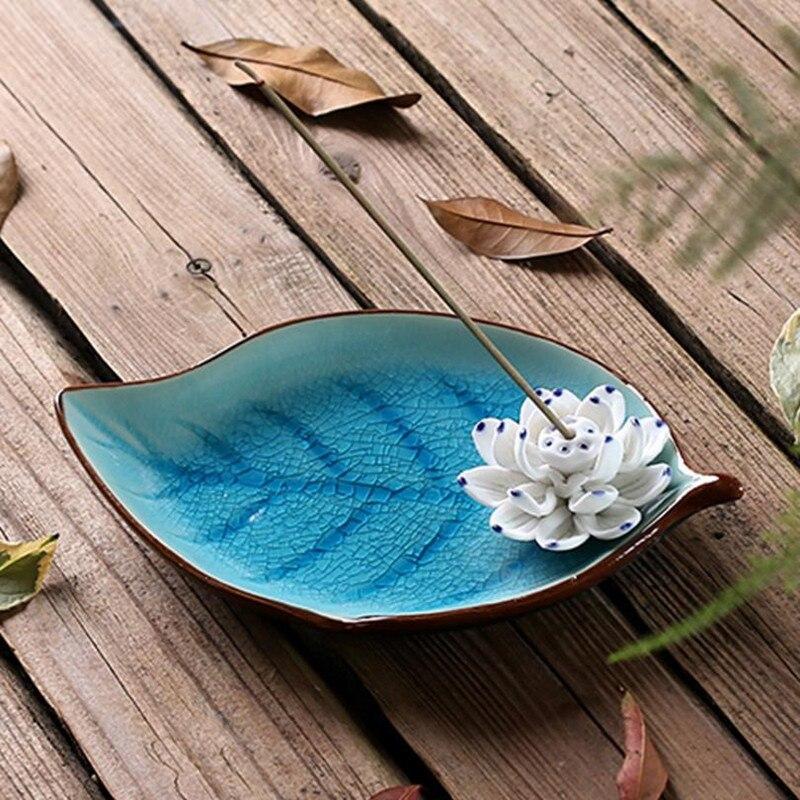 Ceramic Lotus Incense Burner Ice Crack Base Home Decor Incense Stick Holder Buddhist Aromatherapy Censer