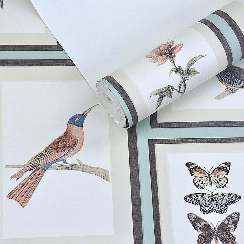 Купить с кэшбэком Vintage American Rustic Wallpapers Decor Home Bird Butterfly Papel Murals Photo Frame Wall Paper Roll for Bedroom Walls behang