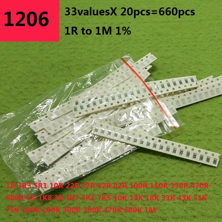 0805 0603 1206 SMD Resistor Kit Assorted Kit 1ohm-1M Ohm 1% 33valuesX 20pcs=660pcs Sample Kit