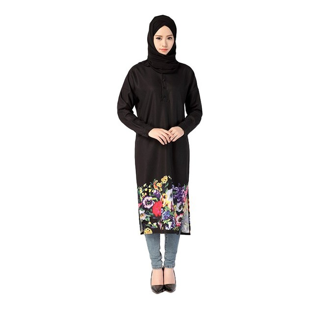 2017 Muslim Costume Dress Women Long Sleeve Flowers Printed Dress World Apparel Style Islam Arab Jilbab Abaya Dresses D316