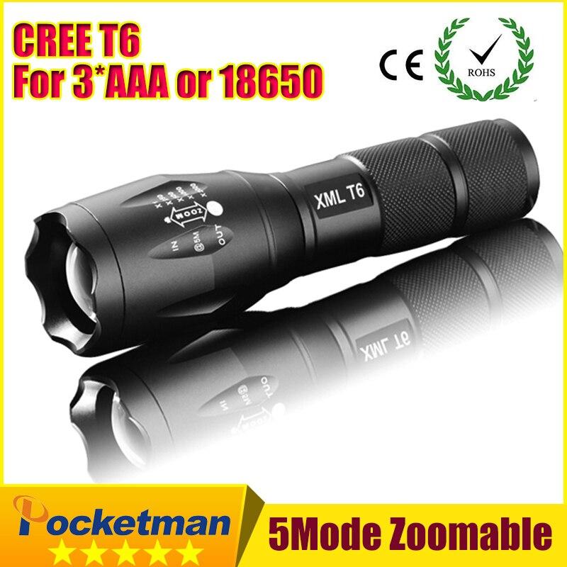 2017 E17 XM-L T6 3800 Lumens led Torche Zoomables LED lampe de Poche Lampe Torche Pour 3 3xaaa ou 1x18650 livraison gratuite ZK96