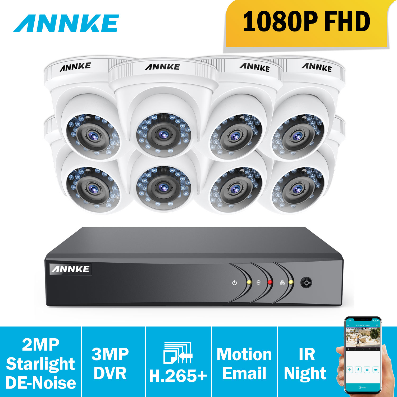 ANNKE 8CH 1080P Home Security System 5in1 HDMI DVR Motion Detection With 8pcs TVI 2MP Outdoor