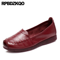 round toe women hollow out breathable elderly wide fit shoes ladies chinese red wine large size sandals flats slip resistant