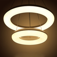 Hanging Wire Acryl LED Round Pendant Lamp DIY Individual 2 Rings LED Chip Pendant Light Fixture