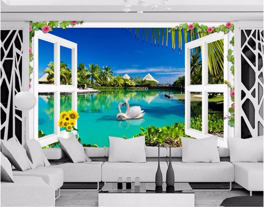 Custom photo 3d wallpaper Outside the window swan view living room Home decoration 3d wall murals wallpaper for wall 3 d world outside the window paper