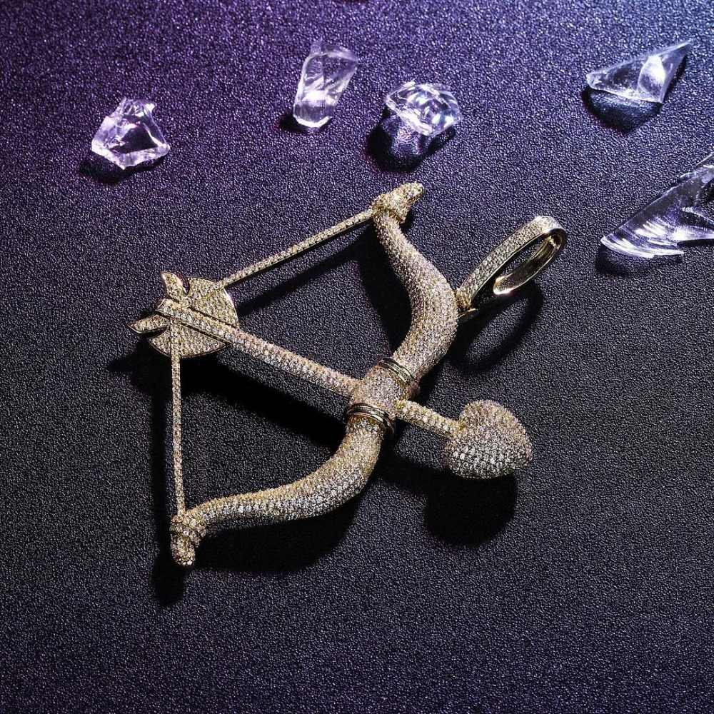 New Designed Iced Out Bow & Arrow Pendant Solid Back Necklace Hip Hop Gold Silver Color Mens/Women Charm Chain Jewelry