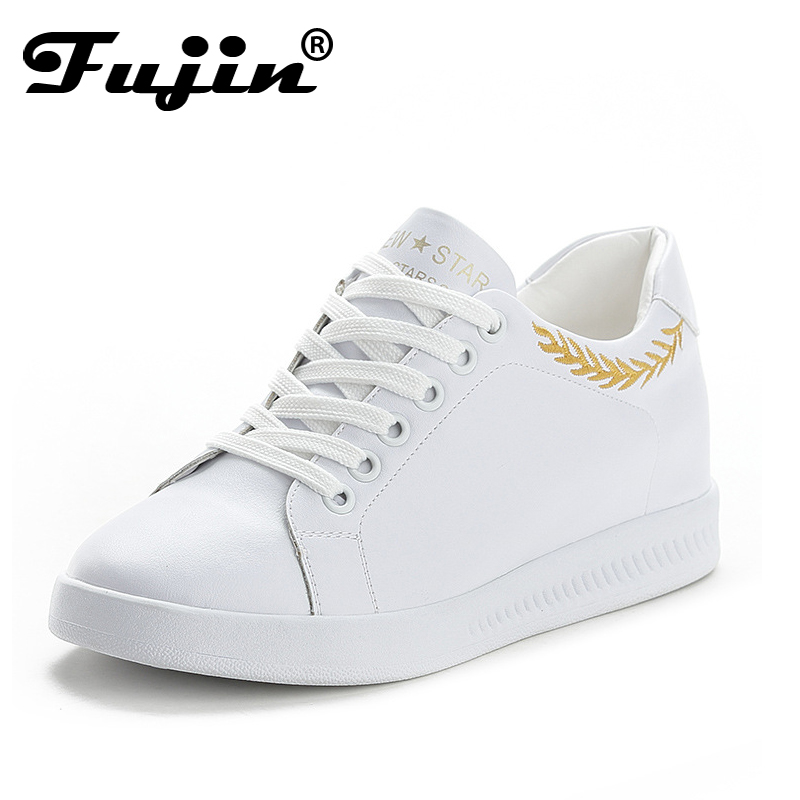 Fujin New Summer Women Shoes Black White Height Increasing Casual Shoes Women Sneakers Breathable Hollow Out Platform Shoes women creepers shoes 2015 summer breathable white gauze hollow platform shoes women fashion sandals x525 50