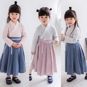 Adolescente da menina do estilo chinês hanfu vestido criança crianças vestido retro do vintage com cinto de cosplay miúdo china stage show de dança traje nacional