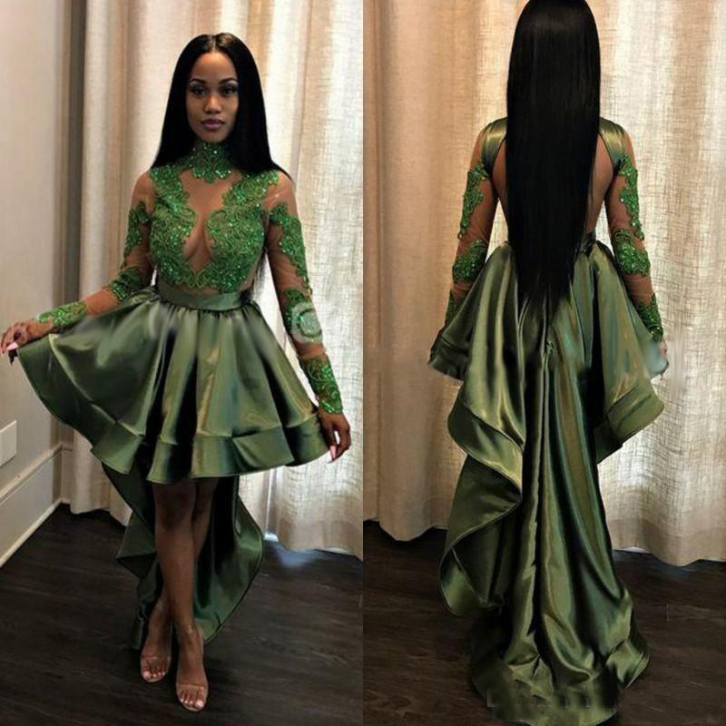African Olive Green Black Girls High Low Prom Dresses See Through Lace Appliques Long Sleeves Party Cocktail Evening Gowns Cheap