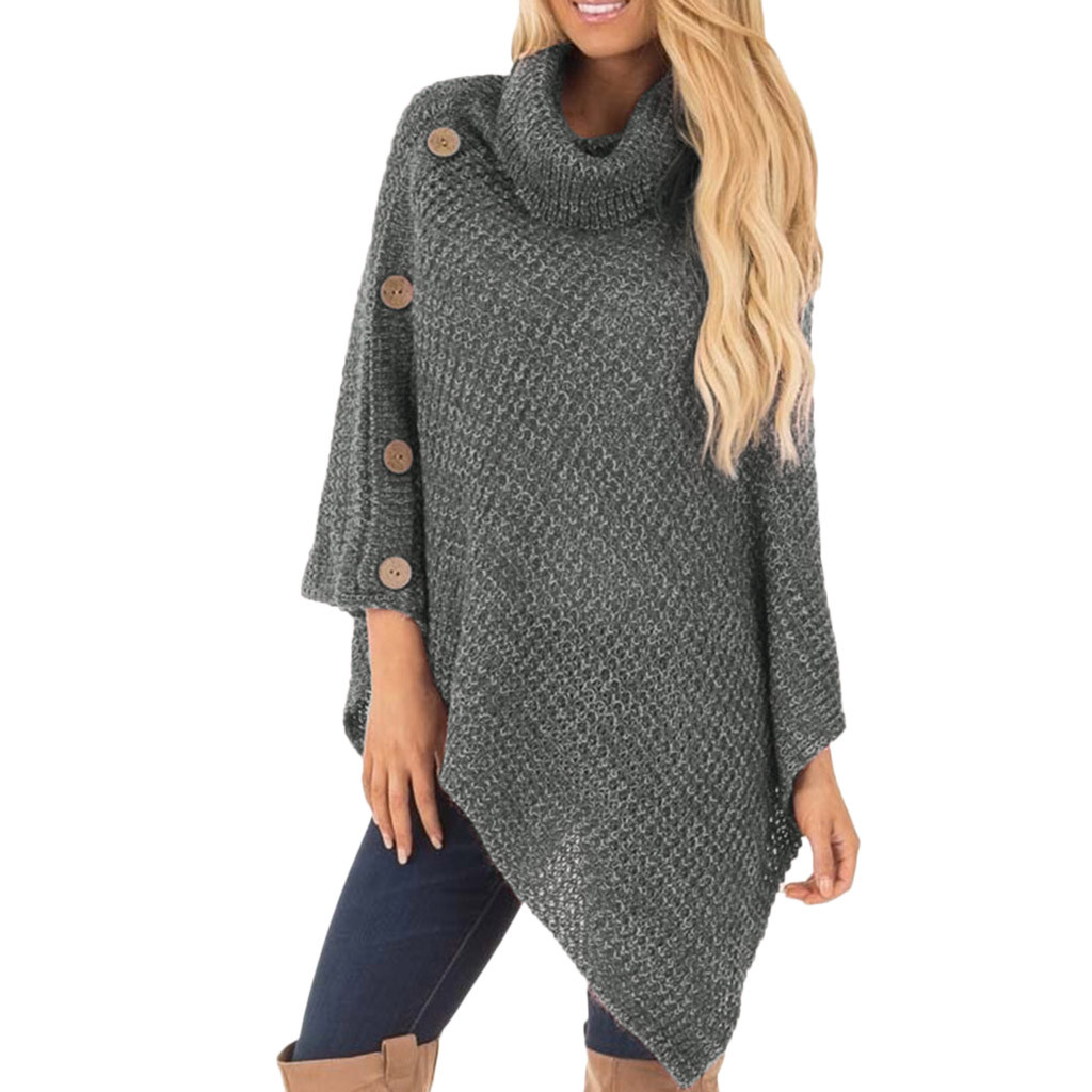 long Women's Knit Turtle Turtleneck Neck Poncho with Button Irregular Hem Pullover Sweaters Crocheted Technics Sleeveless 8Z(China)