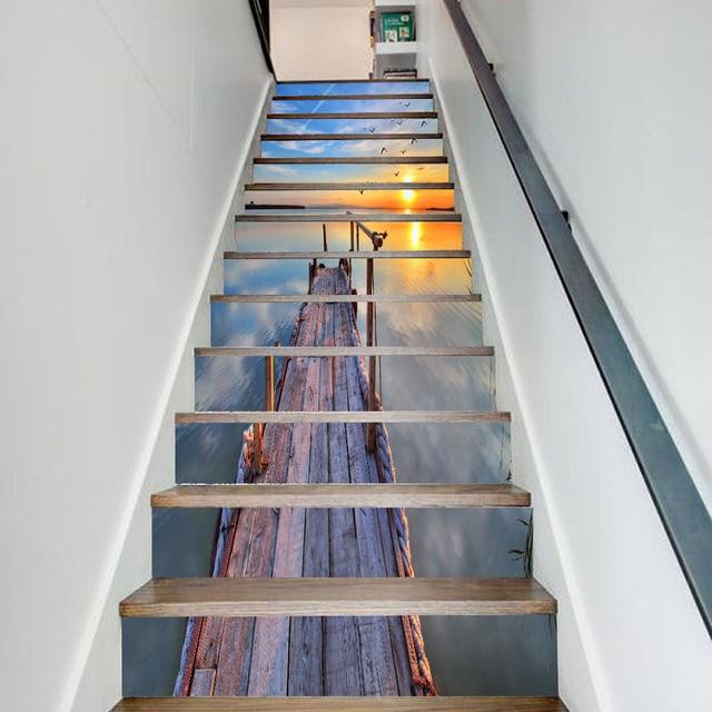 Yazi 13PCS Self Adhesive Stairs Sticker View Stair Decal Vinyl Wall Sticker  Mural Stairway Decor