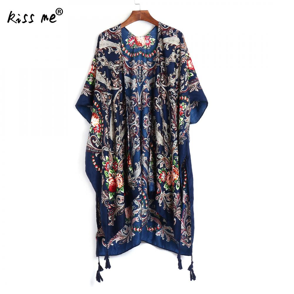 Women Long Cardigan Printed Tassels Pareo Beach Coverup Dress Bathing Suit Cover Ups Sarong Dress For Swimwear Cardigans Praia ...