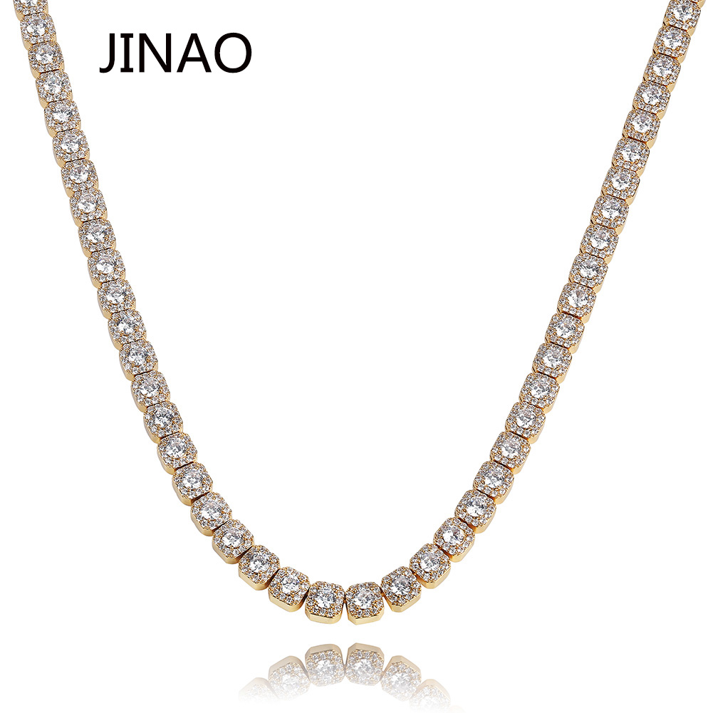 JINAO 10MM Iced Out Necklace Fashion Jewelry Quality Prong Set Big Size Solitaire Tennis Chain Mens
