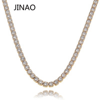 JINAO 10MM Iced Out Necklace Fashion Jewelry Quality Prong Set Big Size Solitaire Tennis Chain Mens Bling CZ Charm Hip Hop