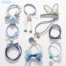Femme Hair Accessories Pearl Elastic Rubber Bands Ring Headwear Girl Elastic Hair Bands Ponytail Holder Scrunchy Rope Hair Women 100pcs girl elastic bands ponytail holder rubber hair elastic kid accessories candy ribbon ring rope children jewelry accessory