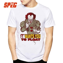 Casual T Shirt It Wants You to Float T-Shirt Stephen King's it Horror Movie Halloween Clown Tee Shirt Men Crewneck Adult for Men