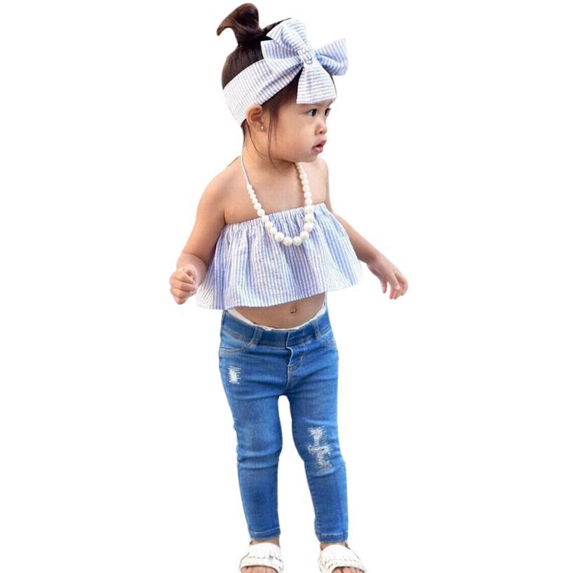 2017 детская одежда для девочек комплект с открытыми плечами футболка в полоску Топ и штаны наряд Одежда для новорожденных детей набор для Об...