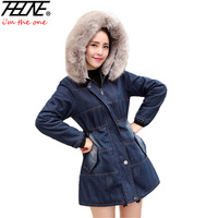 Women S Winter Jacket Denim Coat Fur Hooded Thick Padded Outwear Warm Overcoat Pockets Fashion Jeans