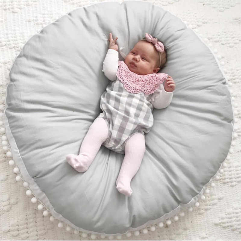Baby Crawling Pad Cotton Wool Ball Thick Kids Newborn Carpet Round Game Play Mat Children's Room Decora Soft Infant Sofa Cushion
