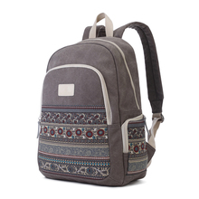 Canvasartisan Top Quality Women Canvans Backpack Bag Female Retro Floral Style Leisure Big Capacity Travel Backpacks Grey Color