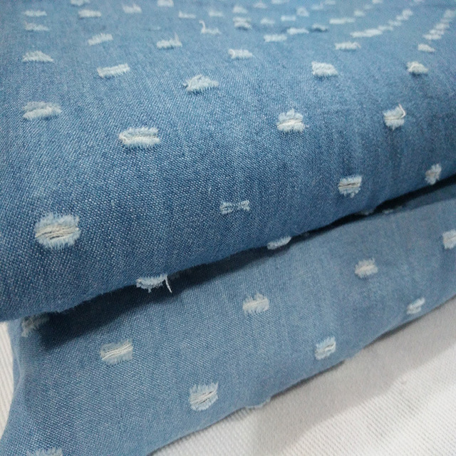 Großhandel 1 Meter (Breite 150 cm) Blau Zerrissene Denim Jean Stoff ...