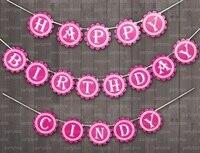 Nome personalizado Feliz Aniversário Decorações Do Partido Dos Miúdos Favores Do Chuveiro Do Bebê Suprimentos Rosa Íris Partido Bunting Bandeiras E Banners
