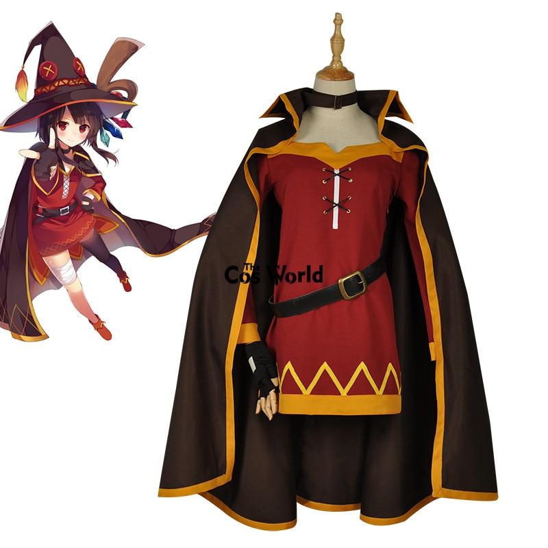 KonoSuba God's Blessing On This Wonderful World Megumin Cloak Dress Uniform Outfit Anime Cosplay Costumes