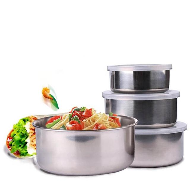 5 Pcs Stainless Steel Home Kitchen Food Container Storage Mixing Bowl Set For Ng Lunches Restaurant