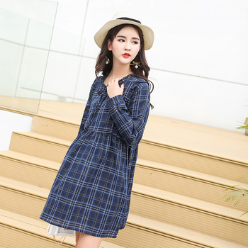 Spring autumn pregnancy wear Long sleeve dresses new pregnant women dress fashion maternity breast feeding Pregnant plaid dress