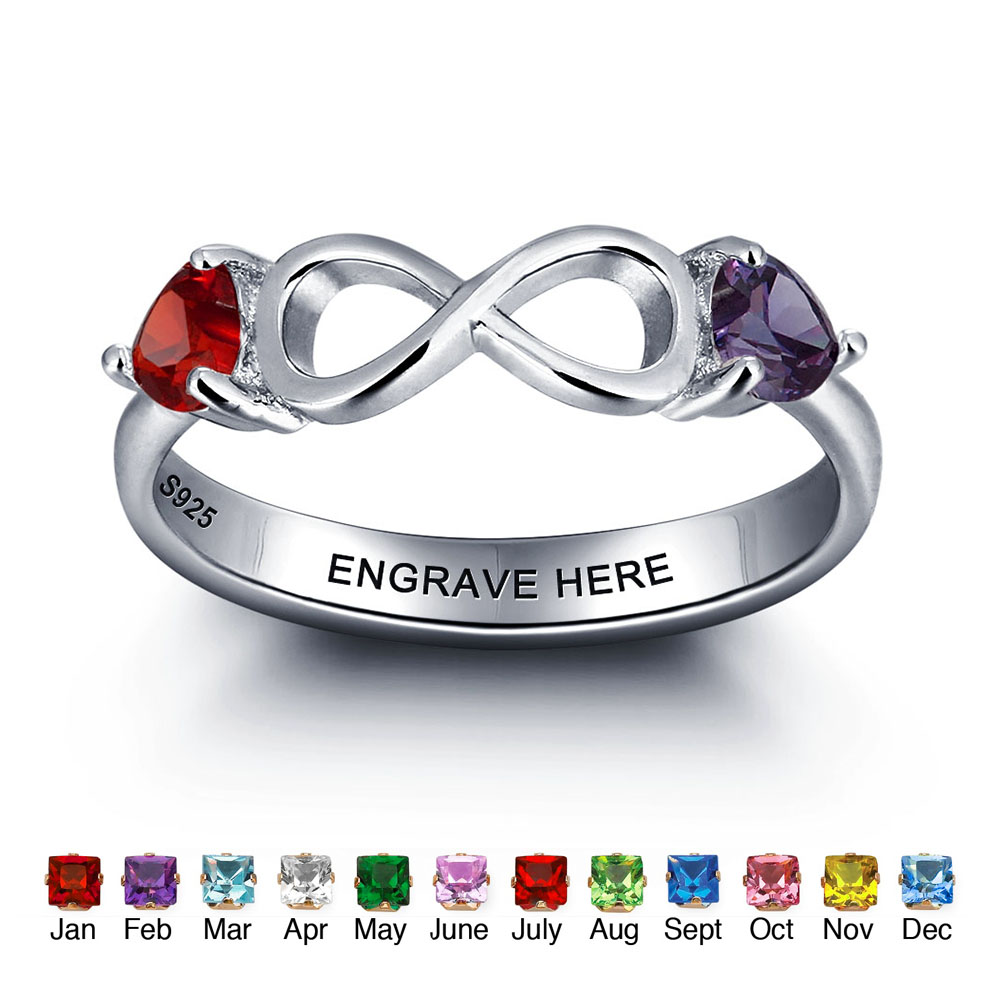 Customize 925 Sterling Silver Heart Birthstone Rings 8 Shape Infinity - Fine Jewelry