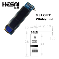 0.91 인치 12832 흰색과 파란색 색상 128X32 OLED LCD LED 디스플레이 모듈 0.91 IIC arduino Diy Kit 통신