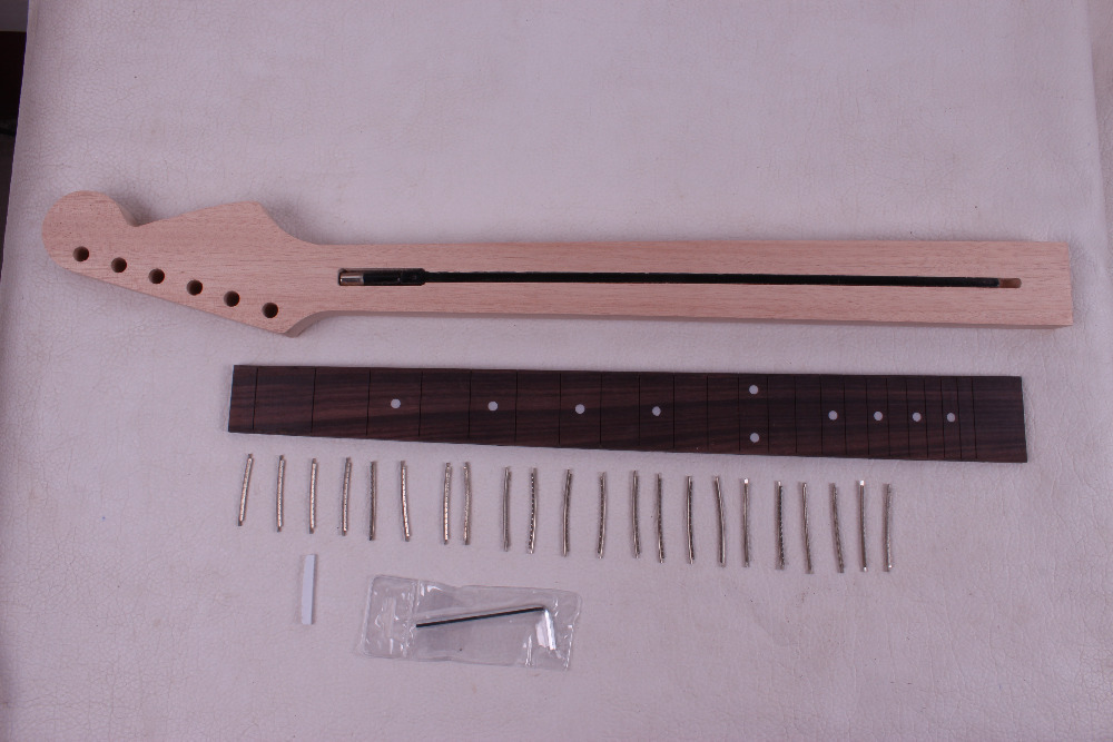 one unfinished electric guitar neck mahogany made and rose wood fingerboard Bolt on 22 fret black color 24 frets holt on one electric guitar neck mahogany wood and rosewood fingerboard 171