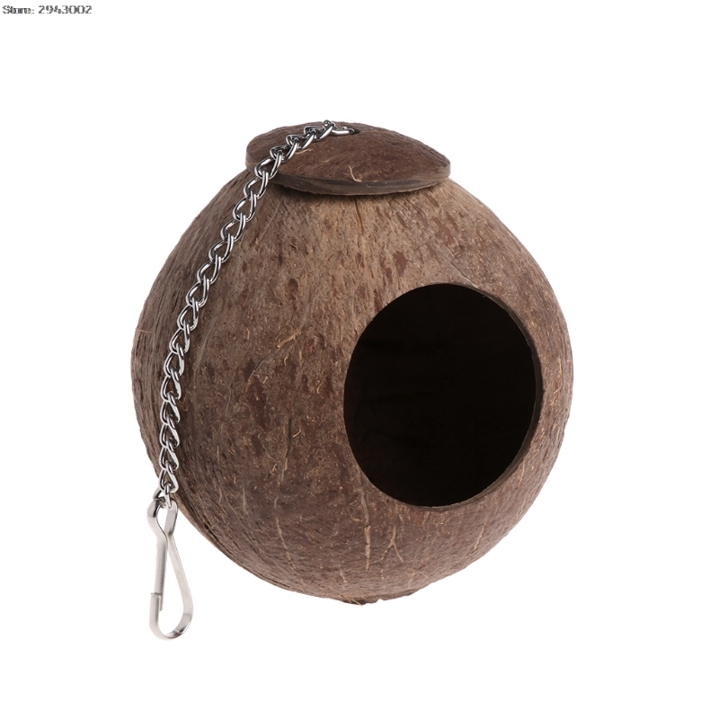Pet Coconut Shell Bird Parrot Nest House Hut Cage Feeder Toy With Chain Budgie Parakeet Cockatiel Conure Hideaway Husk Кормушка
