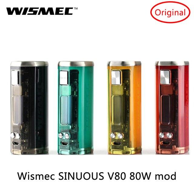 Оригинальный Wismec извилистые V80 Mod 80 Вт TC mod 2A quick charge и 0,91 Экран 6 режимов для оригинальная электронная Сигарета RDA РБА Vape Mod Vs извилистые P80