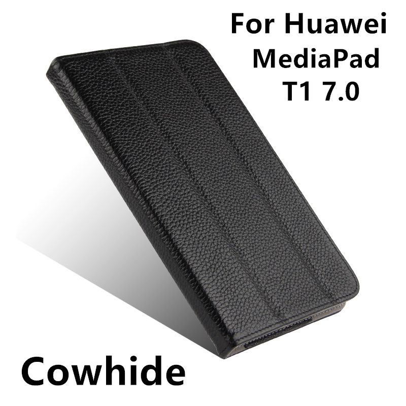 Case Cowhide For Huawei MediaPad T1 7.0 Protective Smart cover Genuine Leather Tablet T1-701U Cases Covers Protector 7.0 inch case pu for huawei mediapad t1 7 0 protective smart cover faux leather 7 0 inch tablet for huawei t1 701u pu case protector