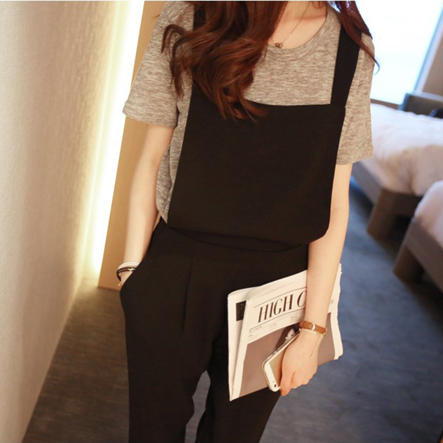 Summer Jumpsuit Women Long Black Overalls Streetwear Rave Korean Style One Piece Rompers Plus Size Women Clothing Playsuit 50G32