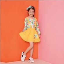 Retail New 2016 Children Autumn Wear Girl Suspender Dress Umbrella Print Baby Girls Overalls Kids Yellow Bottom