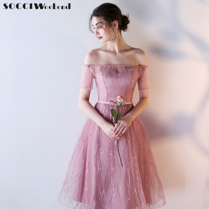 SOCCI Weekend Pink Bridesmaid Dresses 2019 Slim Women Sisters Tea Length Formal Wedding Party Dress Robe De Off Shoulder Gowns