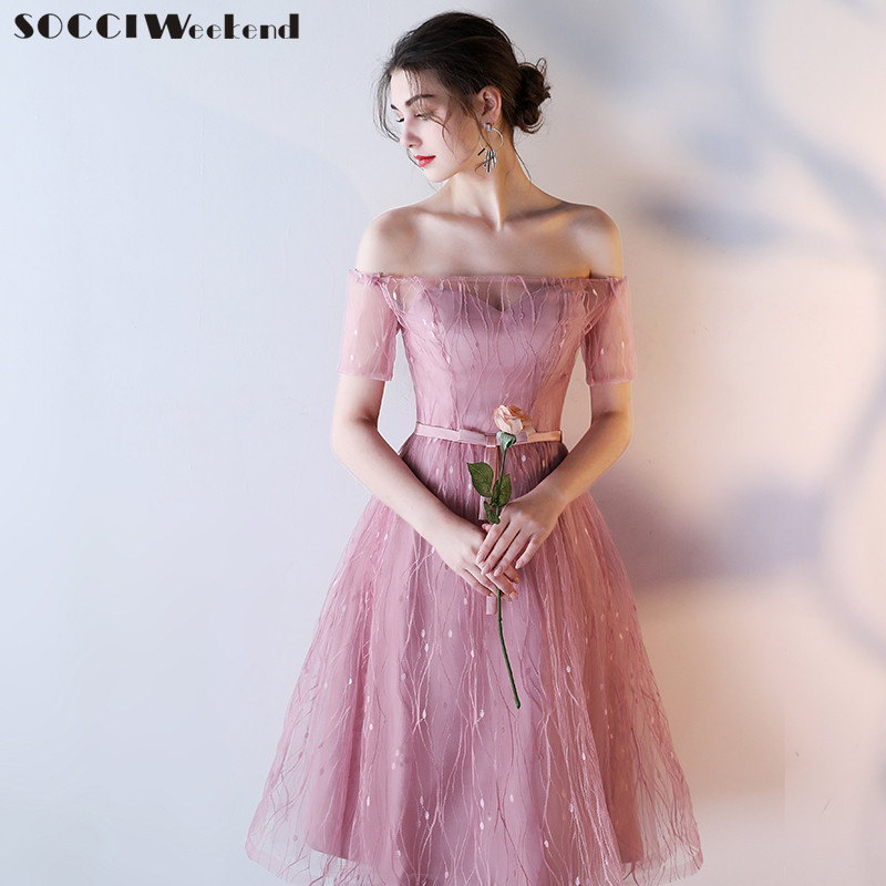 SOCCI Weekend Pink   Bridesmaid     Dresses   2019 Slim Women Sisters Tea Length Formal Wedding Party   Dress   Robe De Off Shoulder Gowns