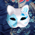 Half Face Japanese Style Hand-Painted Fox Mask Kitsune Blue Crane Pattern Cosplay Masquerade for Party Halloween