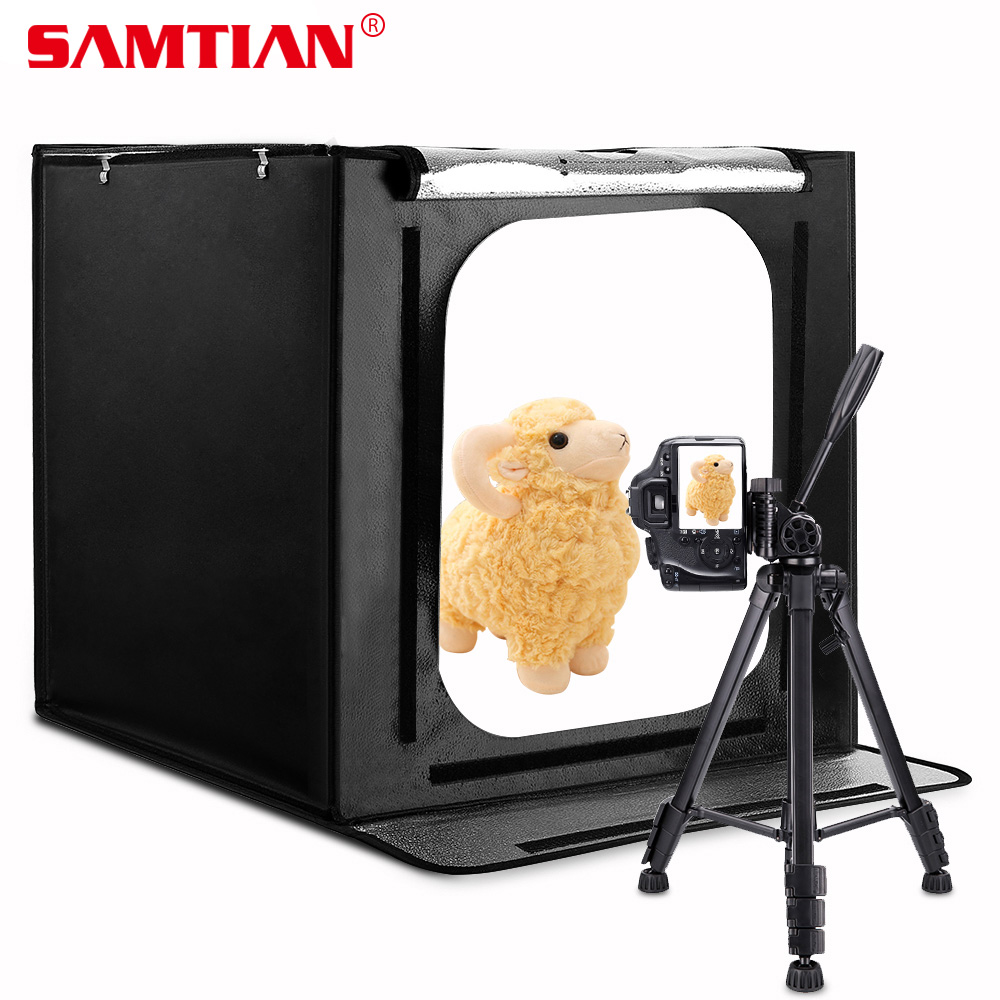 SAMTIAN Pliage Softbox LED Boîte à Lumière 60*60 cm Studio Lightbox Avec Trois Couleurs Fond Pour Téléphone Appareil Photo Photographie boîte